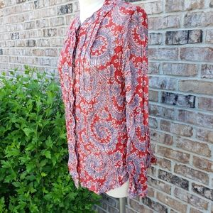 Lucky Brand Paisley Button Down Shirt Red M